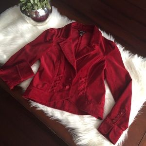 White House Black Market Red Velvet Blazer Sz 6
